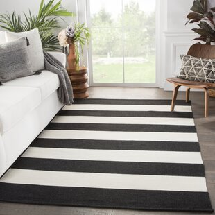 Mcfarland Stripes Handwoven Flatweave Black/Ivory Indoor/Outdoor Area Rug