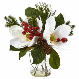 Magnolia, Pine and Berry Arrangement in Vase