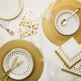Holiday Sparkle and Shine Deluxe Paper and Plastic Tableware Kit