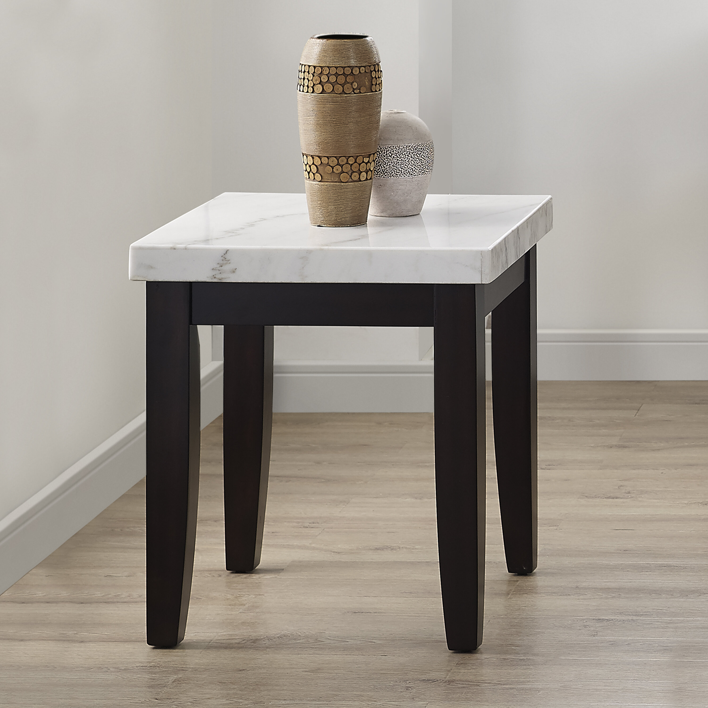 Brayden Studio Thisnes Marble Top End Table Wayfair