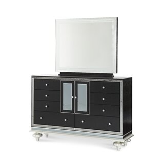 Hollywood Swank 9 Drawer Combo Dresser with Mirror by Michael Amini