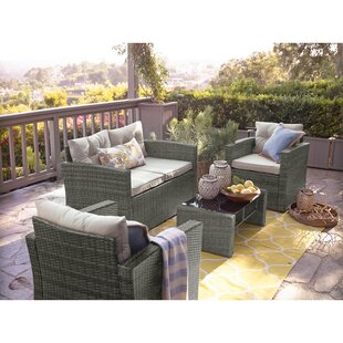 Aguero 4 Piece Outdoor Rattan Sofa Seating Group with Cushions