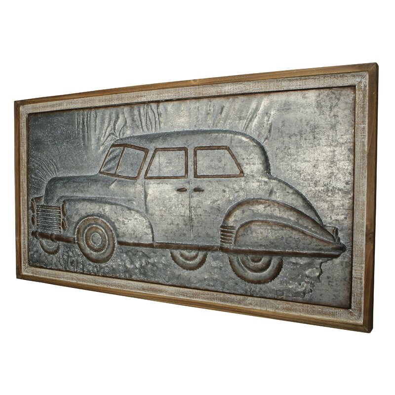 17 Stories Wood Framed Metal Car Wall Dcor Wayfair