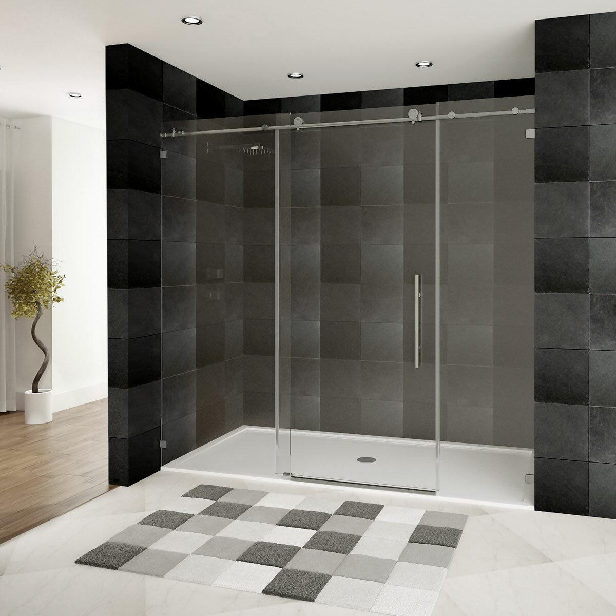 Ultra C 72u0027u0027 X 76u0027u0027 Single Sliding Frameless Shower Door U0026 Reviews |  AllModern