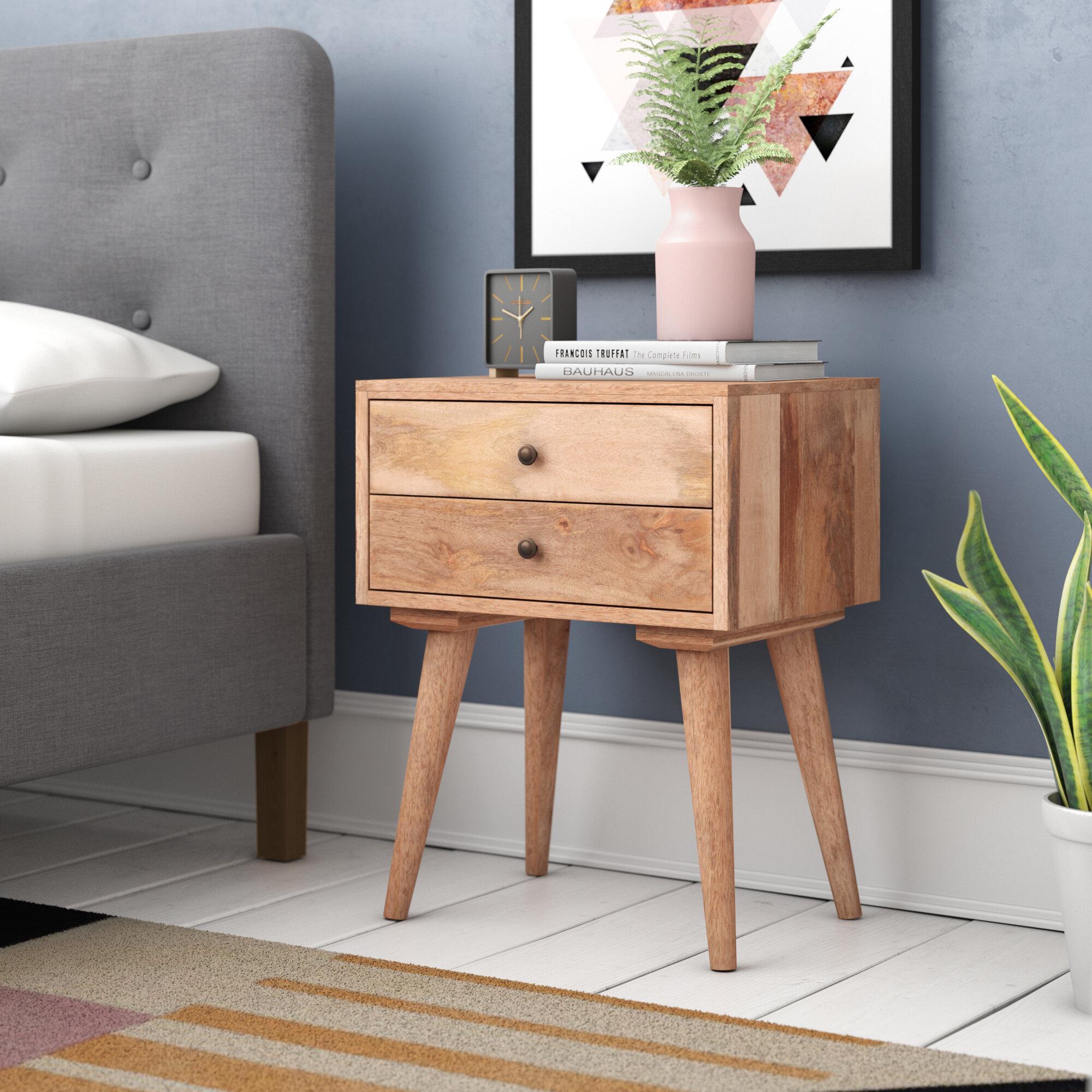 George Oliver Carclunty Solid Wood 2 Drawer Bedside Table Reviews Wayfair Co Uk