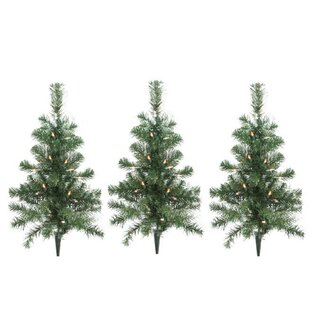 christmas tree driveway or pathway marker lighting display set of 3 - Christmas Pathway Decorations