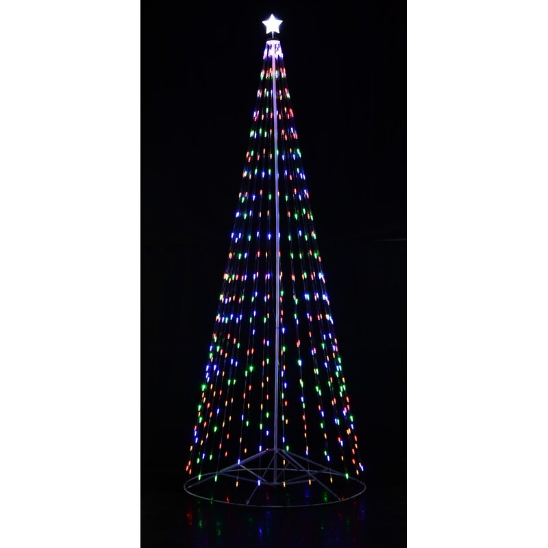 Homebrite Outdoor Multi Color Led Cone Tree With Collapsible Base And Wireless Remote With 8 Flashing Modes