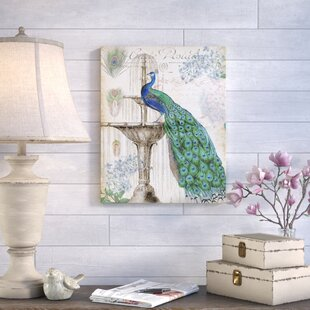 Spring Peacock II Bird Giclee Stretched Canvas Artwork 24 x 24 Global Gallery James Wiens