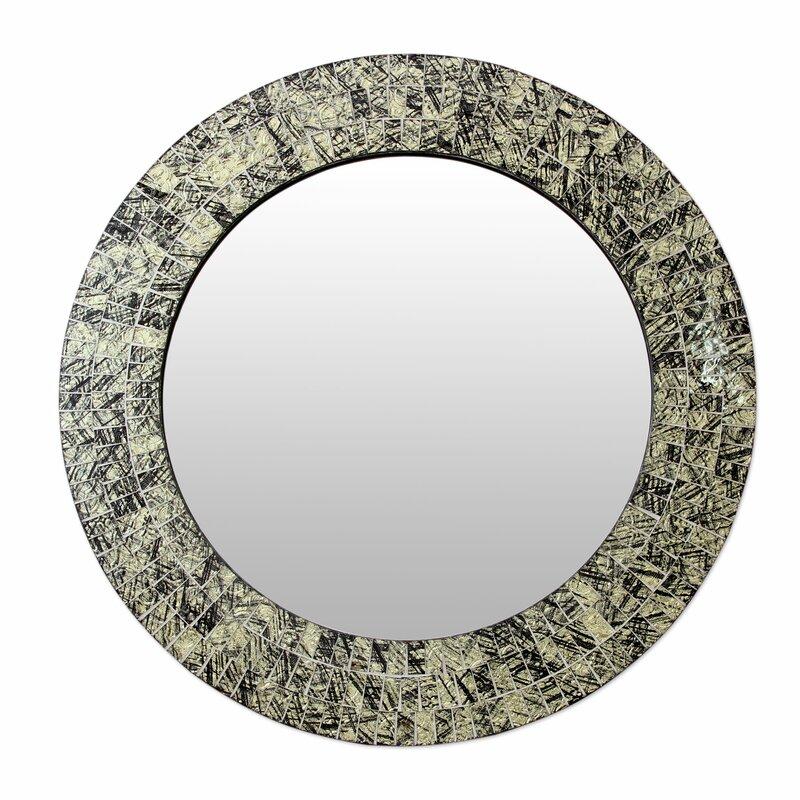 Wall Mirror Round novica golden moon glass mosaic round wall mirror   wayfair