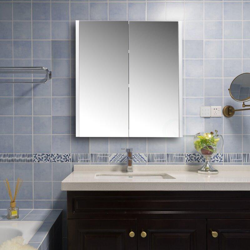 Latitude Run Annily Surface Mount Framed 2 Doors Medicine Cabinet With 2 Adjustable Shelves Wayfair