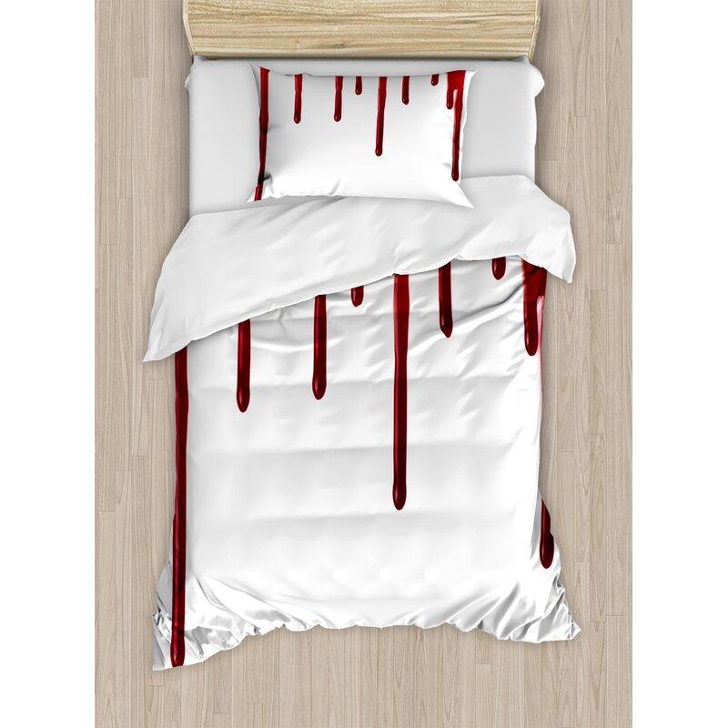horror flowing blood horror spooky halloween zombie crime scary help me themed illustration duvet set