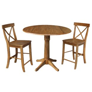 Spring Round Top Pedestal Extending 3 Piece Counter Height Drop Leaf Dining Set August Grove