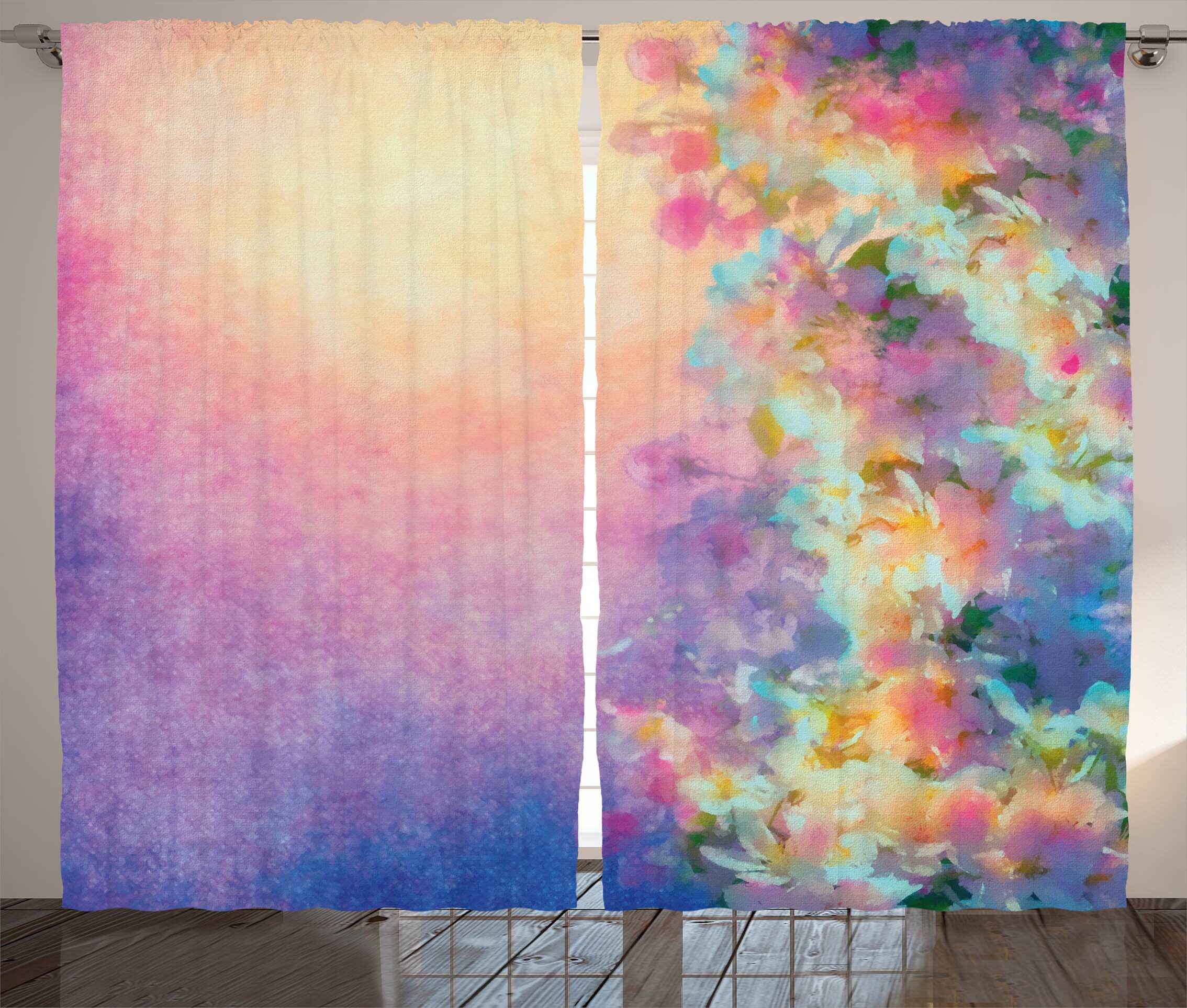 East Urban Home Purple Watercolor Style Effect Spring Cherry Blossom Decorations For Print Graphic Text Semi Sheer Rod Pocket Curtain Panels