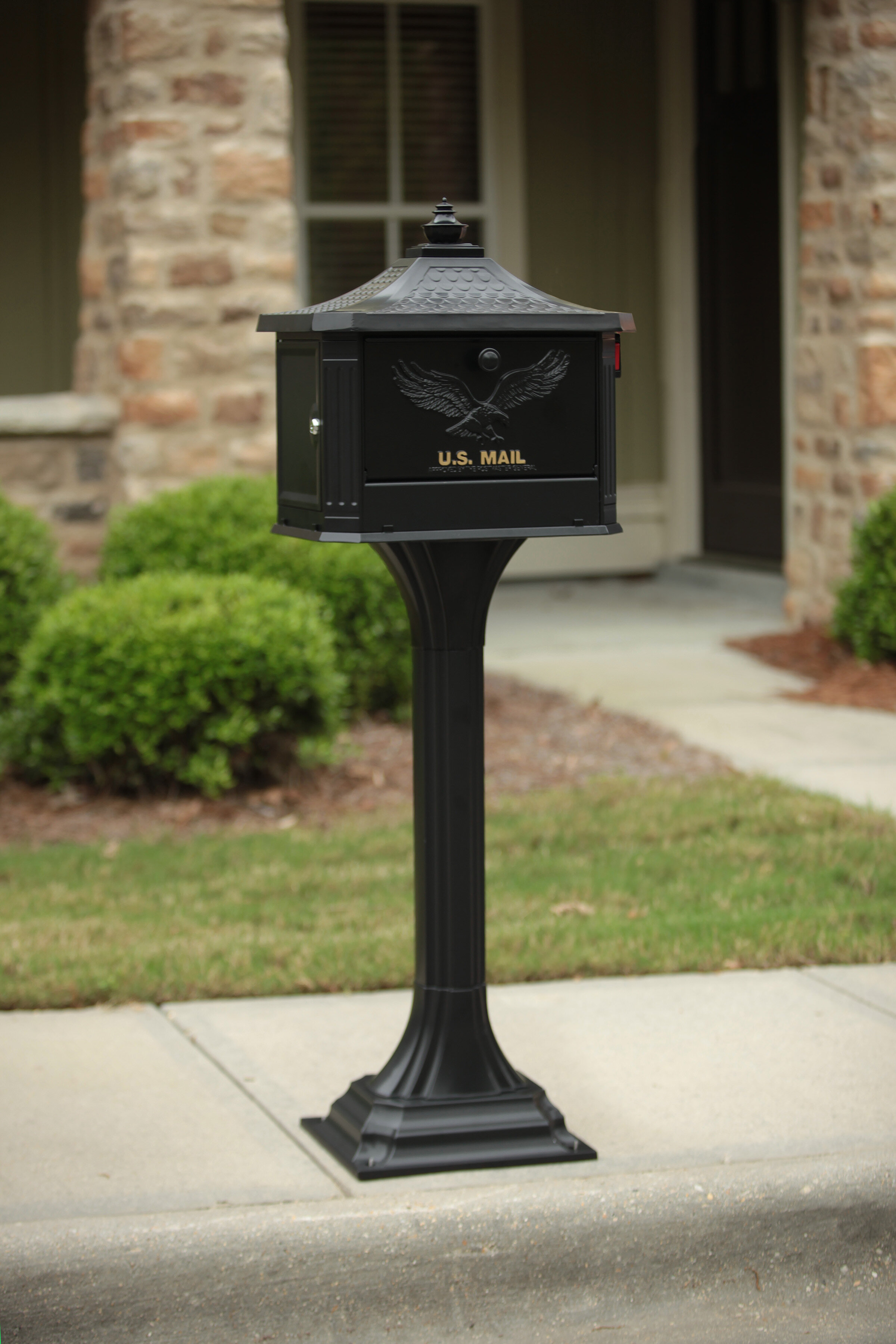 Gibraltar Mailboxes Pedestal All In One Large Aluminum Locking Mailbox Post Combo Black Reviews Wayfair