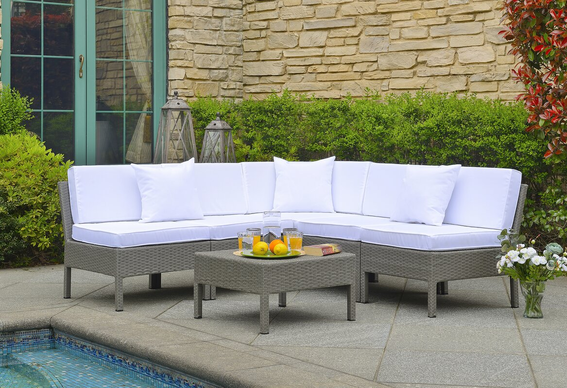 Mccubbin 6 Piece Gray Rattan Sectional Set with White Cushions