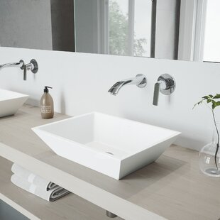 Bargain Vinca Stone Rectangular Vessel Bathroom Sink with Faucet By VIGO