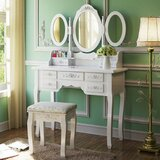 Highview Vanity Set with Stool and Mirror by Charlton Home®