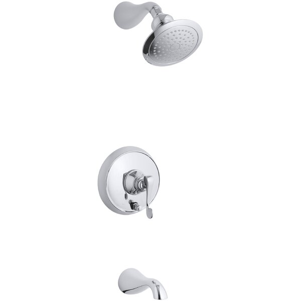 Kohler Revival Rite Temp Pressure Balancing Bath And Shower Faucet Trim With Push Button Diverter And Scroll Lever Handle Valve Not Included Wayfair