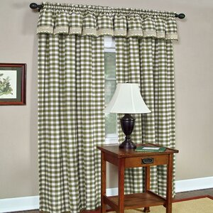 Haylee Plaid and Check Sheer Rod Pocket Single Curtain Panel