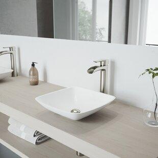 Coupon VIGO Matte Stone Square Vessel Bathroom Sink with Faucet By VIGO