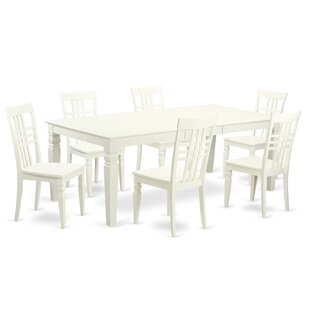 Beesley 7 Piece Linen White Wood Dining S..