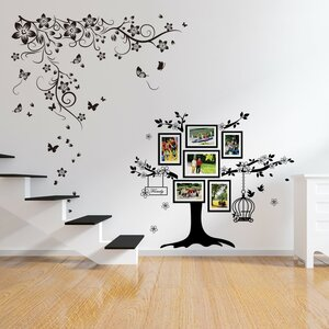 Flowers and Butterflies with Photo Tree Wall Sticker Set