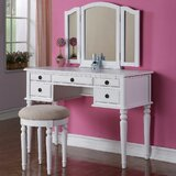 Asenath Vanity Set with Stool and Mirror by Astoria Grand