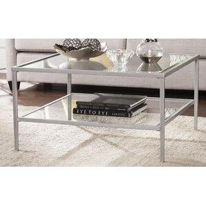 Fallis Square Metal Glass Open Shelf Coffee Table