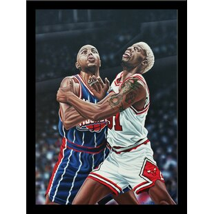 'Dennis Rodman and Charles Barkley Battle for a Rebound' Print Poster by Darryl Vlasak Framed Memorabilia by Buy Art For Less