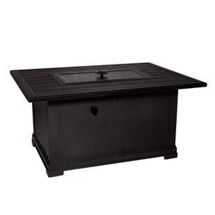 Rectangular Embossed Wood Grain Slats Aluminum Propane Fire Pit Table