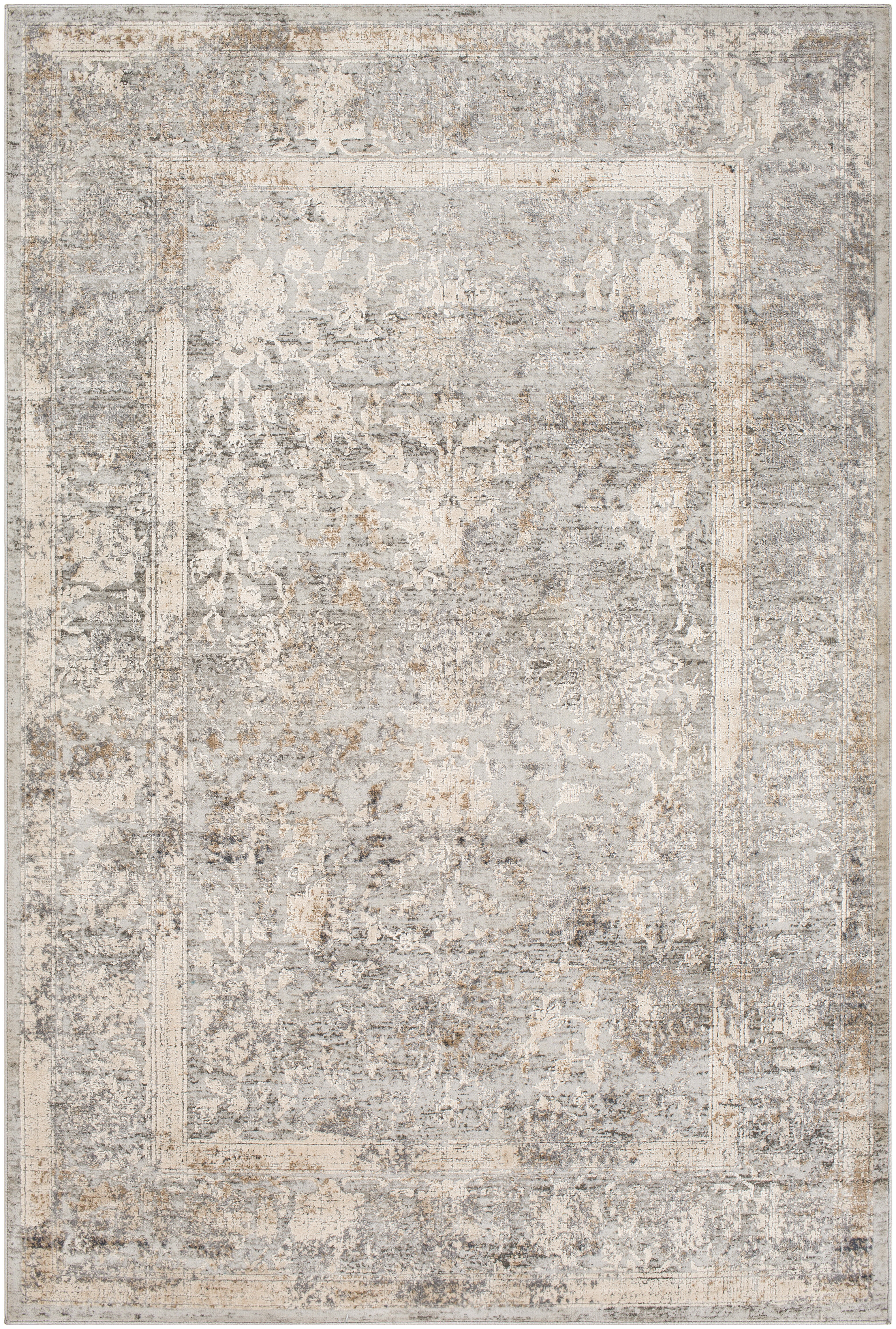 House Of Hampton Kobe Power Loom Wool Ivory Gray Rug Wayfair