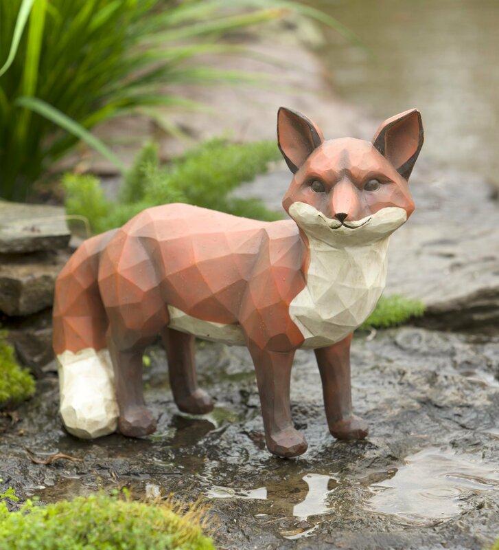 Good Woodcut Style Fox Garden Statue