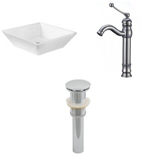 Affordable Ceramic Square Vessel Bathroom Sink with Faucet By Royal Purple Bath Kitchen