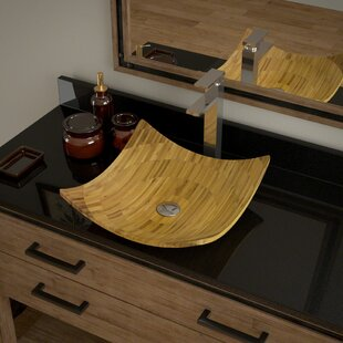 MR Direct Bamboo Square Vessel Bathroom Sink with Faucet