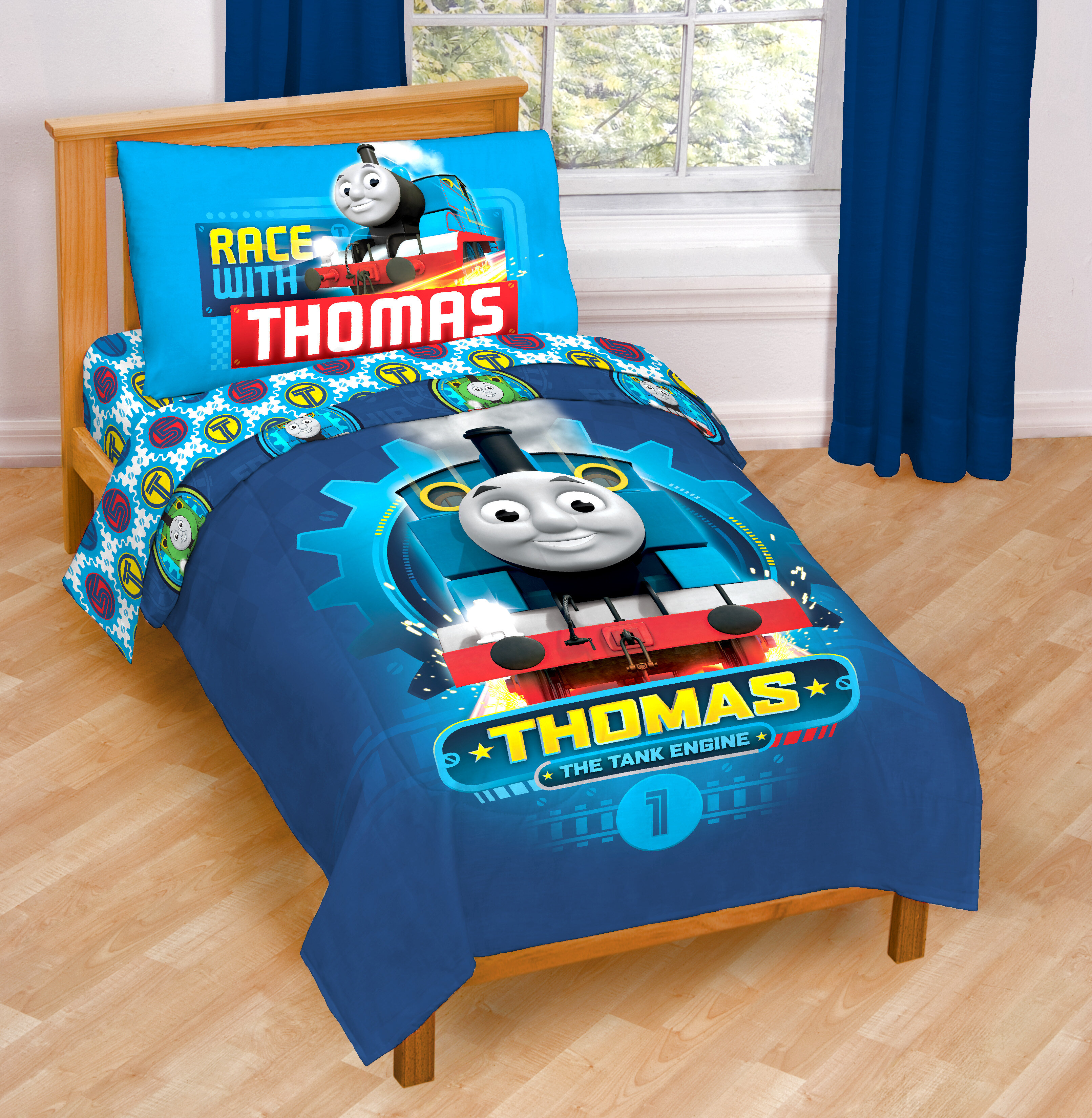 Twin Blue The Train Track Star Microfiber Comforter Thomas