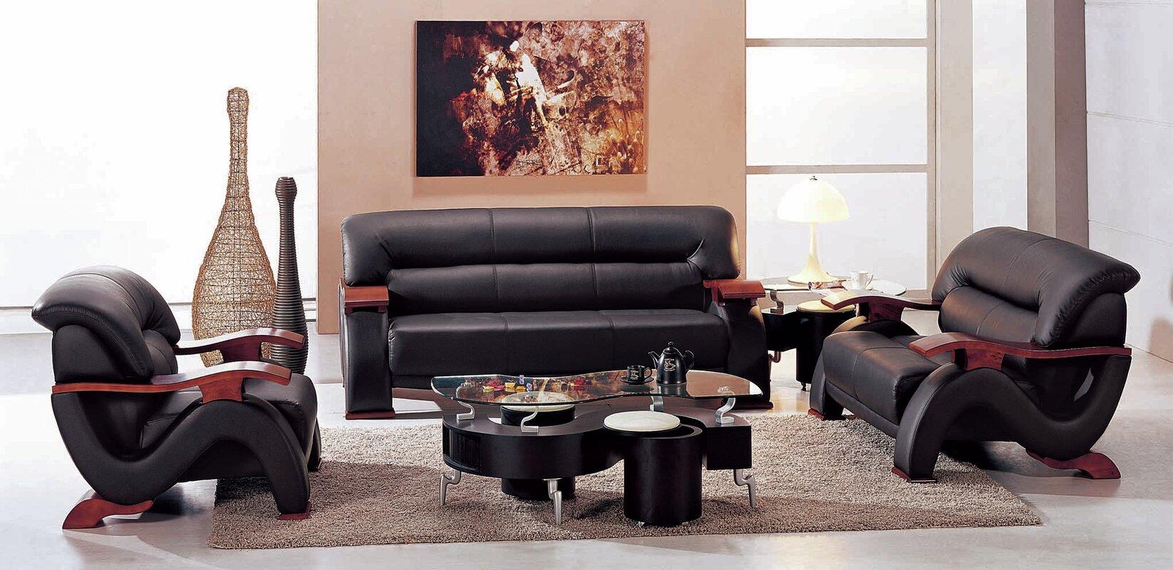 Hokku Designs Chrysocolla Leather 3 Piece Living Room Set Reviews Wayfair