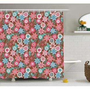 Clark Flower Petals Florets Shower Curtain + Hooks