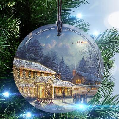 thomas kinkade national lampoons christmas vacation hanging shaped ornament