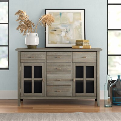 """Three Posts Gosport 54"""" Wide 6 Drawer Sideboard  Color: Distressed Gray"""