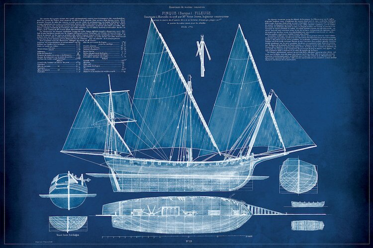 Beachcrest home antique ship blueprint iii graphic art print on antique ship blueprint iii graphic art print on wrapped canvas malvernweather Gallery
