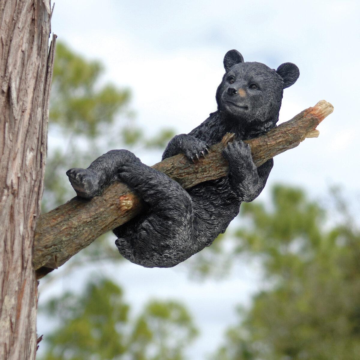 Black Bear Cub Wildlife Animal Statue Outdoor Tree Garden Sculpture Decor Art