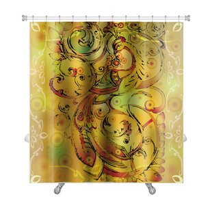 Art Touch Firebird with Crown and Abstract Branches Premium Single Shower Curtain