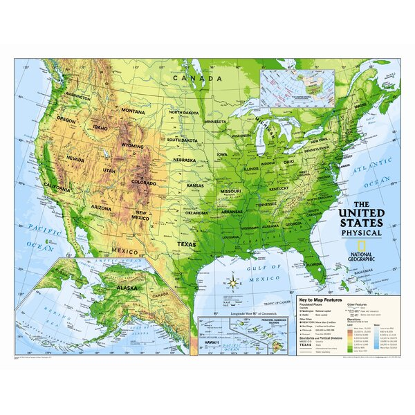 National Geographic Maps Kids Physical USA Wall Map (Graded 4-12 ...