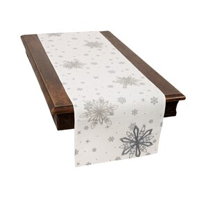 Tripp Crystal Snowflakes Embroidered Christmas Table Runner