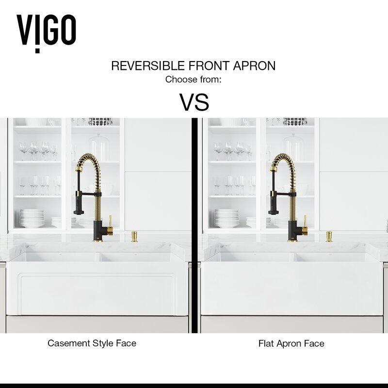 Vigo Matte Stone Tm 33 L X 18 W Double Basin Farmhouse Kitchen Sink With Faucet Reviews