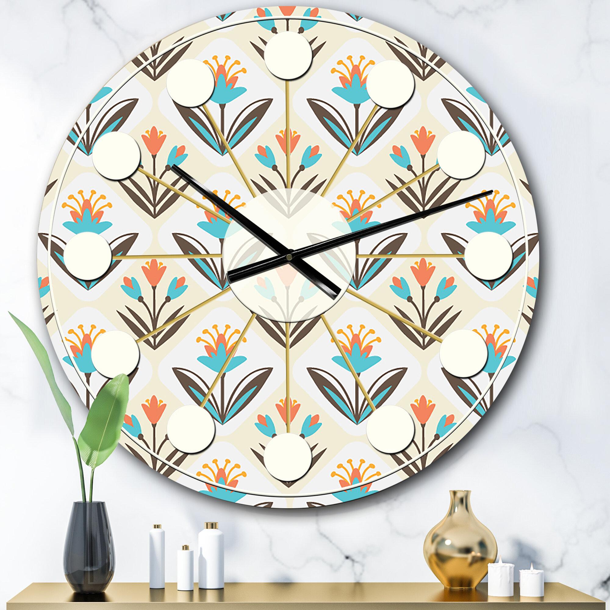 East Urban Home Oversized Floral Ornament Mid Century Wall Clock Wayfair