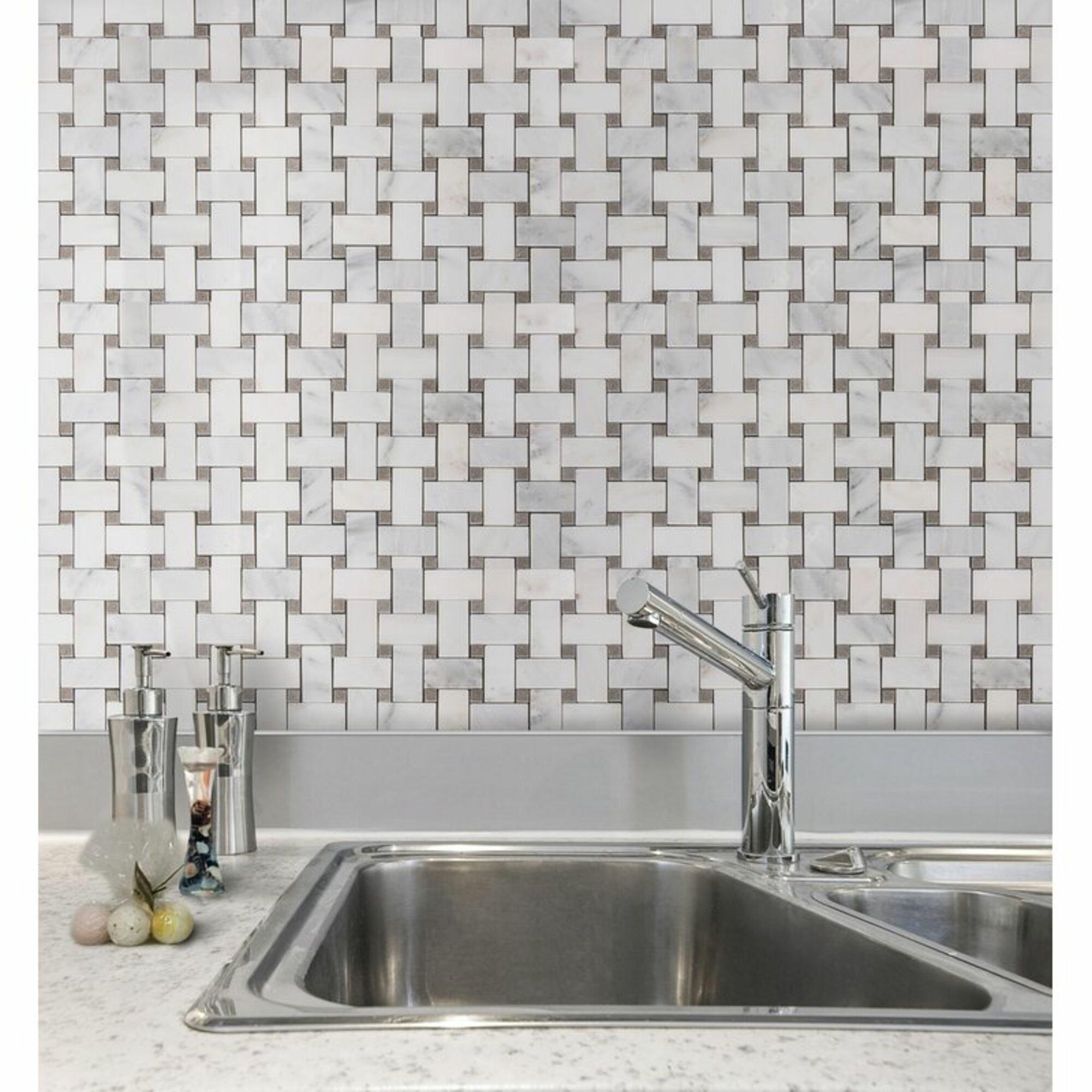 Porpora Marble Basketweave Mosaic
