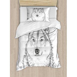 East Urban Home Animal Wildlife Woods Winter Wolf Dog Sketchy Hand Drawn Image Artwork Print Duvet Set