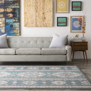 Septfontaines Teal/Beige Area Rug