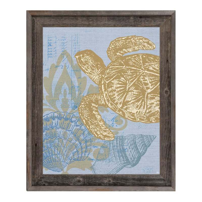 Click Wall Art Damask Sea Turtle Framed Graphic Art On Canvas In Light Blue Wayfair